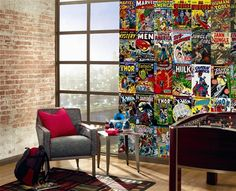 Marvel Comic Book Covers Mural- OR USE MAGAZINE COVERS OF YOUR CHOICE, WOULD BE GREAT FOR KIDS ROOM OR DEN