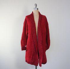 #vintage 80s red sweater coat / oversize cardigan / #fashion #style #valentine #valentinesday