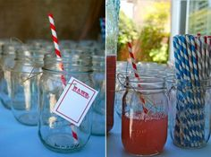 paper straws and mason jars for drinkies