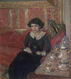 """Edouard Vuillard (French, 1868–1940) - """"Jeune femme dans un intérieur"""" (Girl in an Interior), c. 1910"""