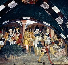 Medieval Scene - Marketplace Artist Unknown Fresco Castle at Issogne, Valle d'Aosta, Italy. Late 15th-early 16th century
