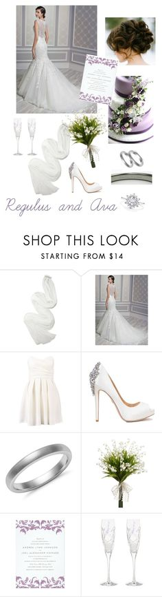 """""""I just wanna be yours"""" by firebreatherr ❤ liked on Polyvore featuring Lanvin, Disney, TFNC, Badgley Mischka, Blue Nile, Waterford, bride, white, purple and wedding"""