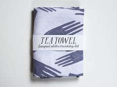 Tea Towel screen printed grey palmistry hands