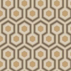 Papier peint - Cole and Son - Hicks Hexagon - Gold & Taupe
