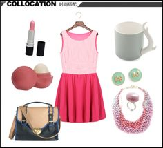 S1467 plaid sleeveless pleated dress-rose red
