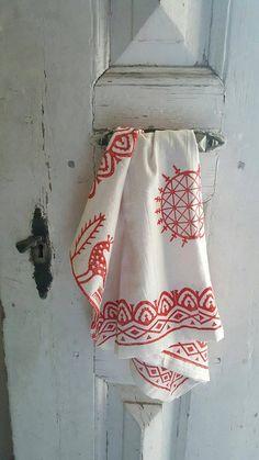 Red blockprint runner, Anatolian pattern blockprint runner