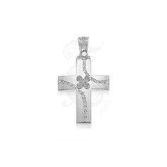 Ένας μοντέρνος και λεπτός σταυρός γυναικείος ή βαπτιστικός του οίκου ΤΡΙΑΝΤΟΣ από λευκόχρυσο Κ14 με ένα διακριτικό λουλούδι και ζιργκόν #τριαντος #γυναικειος #βαφτιση #λευκοχρυσο #σταυρος
