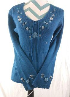 Worthington Size Large Blue Floral Sweater Blouse Knit Top Artisan Autumn #WorthingtonIndustries #Sweater #Casual