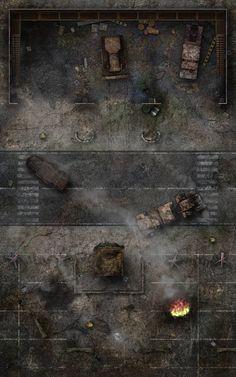 Vehicle Depot by WastelandBattlemaps on DeviantArt Fantasy Map, Medieval Fantasy, Apocalypse, Zombies, Rpg Cyberpunk, Shadowrun Rpg, Fallout Rpg, D20 Modern, Pen & Paper
