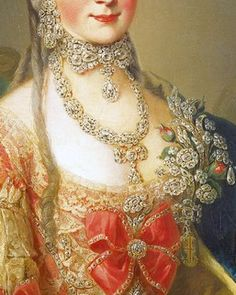 Fabulous diamond jewelry - earrings, collar with large bow and drop diamond, also necklace of diamonds, and stunning brooch of diamond flowers. From the portrait of Maria Christina, Duchess of Teschen, 1765, by Meister der Erzherzoginnenportraits