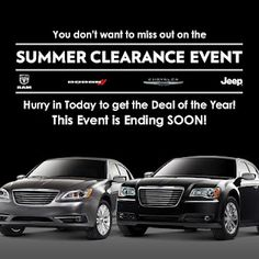 Perry Auto Group's Carolina Chrysler Dodge Jeep Dealership of Elizabeth City, North Carolina, is excited to be a part of the Chrysler Summer Clearance Event!