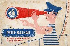 PETIT BATEAU Images Vintage, Vintage Posters, Fantasy Illustration, Graphic Design Illustration, Stop Pub, Pub Vintage, Vintage School, Poster Ads, A30