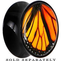 Black Acrylic Monarch Butterfly Wing Saddle Plug #bodycandy