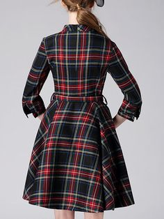 3/4 Sleeve Vintage Checkered/Plaid Printed A-line Shirt Dress