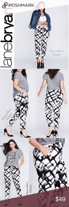 Lane Bryant Lena Smart Stretch Ankle Pant Plus Up for Sale are a Pair of Lane Bryant The Lena Smart Stretch Printed Ankle Pant Brand New With Tags! Retails For $69.95 Plus Size 16  The ankle pant is the single best style for that winter-to-spring transition.   And this brushstroke print in classic black and white will revamp your entire look.   Zip front pockets. Vented leg openings. Double bar & slide, inner button and zip fly closure. Lane Bryant Pants