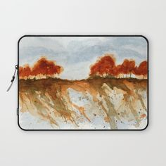 Firebranch Ridge, Watercolor Abstract Landscape Art Red Trees Painting  Laptop Sleeve