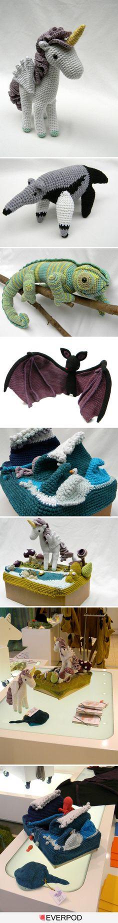 Awesome amigurumi with scenery! Gato Crochet, Crochet Amigurumi, Amigurumi Patterns, Amigurumi Doll, Crochet Dolls, Crochet Patterns, Crochet Unicorn, Crochet Ideas, Crochet For Kids