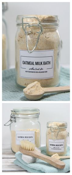 DIY Oatmeal Milk Bath Recipe Make this simple recipe for a luxurious soak in the bath. Oatmeal Milk Bath has moisturizing effects and milk has a gentle exfolitating effect on your skin. Milk Bath, Bath Soak, Bath Scrub, Homemade Beauty Products, Diy Spa Products, Natural Products, How To Make Beauty Products, Luxury Bath Products, Homemade Beauty Recipes