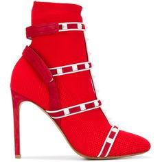 Valentino Valentino Garavani Rockstud Bodytech knit ankle boots ($1,068) ❤ liked on Polyvore featuring shoes, boots, ankle booties, red, short boots, stiletto boots, ankle boots, red boots and pointed toe ankle boots