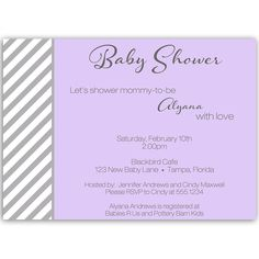 54 best girl baby shower invitations images on pinterest baby invite guests to your girl baby shower with this purple invitation with gray stripes filmwisefo