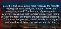 To profit in trading, you must make recognize the markets. To recognize the markets, you must first know and recognize yourself. The first step of gaining self-awareness is ensuring that your risk tolerance and capital allocation to forex and trading are not excessive or lacking. This means that you must carefully study and analyze your own financial goals in engaging forex trading. #Forex #Trading #Tips #tradingnav