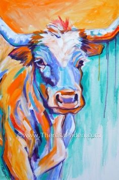 Expressionistic Colorful Longhorn Cow Painting by Theresa Paden, painting by artist Theresa Paden