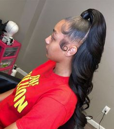 Hair Ponytail Styles, Weave Ponytail Hairstyles, Sleek Ponytail, Baddie Hairstyles, Curly Hair Styles, Natural Hair Styles, Casual Hairstyles, Medium Hairstyles, Everyday Hairstyles