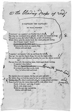 "Walt Whitman's corrected reprint of ""O Captain, My Captain!"""