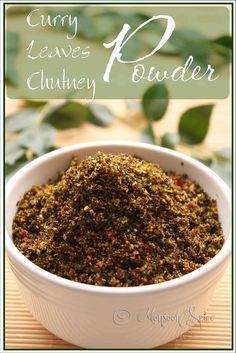"Curry Leaves Chutney Powder ""What are they?"" asked British lady standing right next to me in Asian grocery store. ""Its curry leaves"", I . Veg Recipes, Indian Food Recipes, Vegetarian Recipes, Cooking Recipes, Recipies, South Indian Chutney Recipes, Andhra Recipes, Curry Recipes, Quick Recipes"