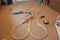 This site has lots of train track layout ideas to copy