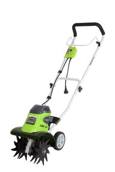 Greenworks 10 in. Corded Tiller - The Greenworks 10 in. Corded Tiller gets garden beds ready in no time. Its forward-rotating tines loosen soil and remove dirt. This earth-friendly tiller. Tillers For Sale, Power Tiller, Electric Tiller, Best Garden Tools, Gardening Tools, Organic Gardening, Garden Cultivator, Garden Cart, Home Vegetable Garden
