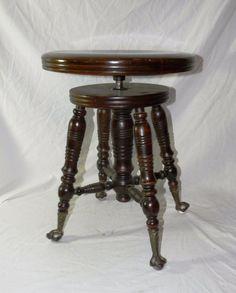 Antique Piano Organ Stool w Glass Ball Feet Turns Well & Antique Adjustable Piano/Organ Stool w Crystal Ball/Claw Bird Feet ... islam-shia.org