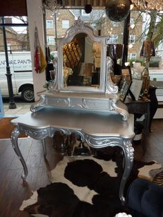 If I ownd a hair salon every station would have this Silver Dressing Table.