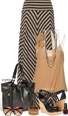 tan & black maxi skirt