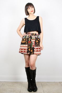 Vintage Boho Shorts 1980s High Waisted Shorts 80s Bohemian Summer Shorts Black Gold Red Green Beige Print Shorts Festival Shorts S Small M Shorts by ShopTwitchVintage #vintage #etsy #80s #1980s #shorts #boho