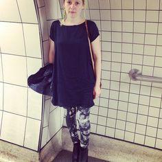 In the #tube again! This time in #print #leggings and #tshirt #dress both @phannatiq and #organic #london #travel #green #eco #clothing #fashion phannatiq's photo on Instagram