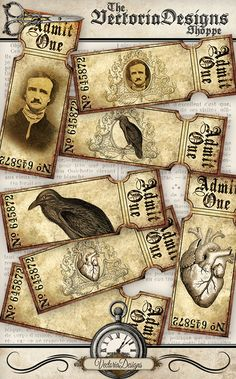 Edgar Allan Poe Tickets printable add text by VectoriaDesigns Printable Designs, Printables, Edgar Allen Poe, Digital Collage, Digital Papers, Vintage Holiday, Collage Sheet, Vintage Images, Halloween Printable