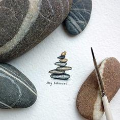 #balance - new miniature (20x15mm) from the #TinyPiecesOfLife project. Just stay balanced and happy 🌄 // #miniature #watercolor #aquarelle #tiny #small #stones #stone #balancingstones #staybalanced #nature #art #inspiration #harmony #painting #minimalism #творчество #баланс #гармония #вдохновение #миниатюра #рисунок #акварель #минимализм #creative #creation #микро #mini