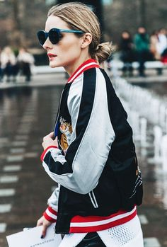 Whisper by Sara | dark blue sunnies and embroidered bomber jacket | @whisperbysara || Olivia Palermo by Collage Vintage