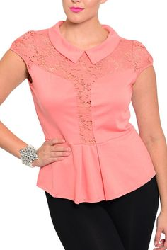 DHStyles Women's Coral Plus Size Sexy Sheer Lace Cut Out Collared Top - 1X #sexytops #clubclothes #sexydresses #fashionablesexydress #sexyshirts #sexyclothes #cocktaildresses #clubwear #cheapsexydresses #clubdresses #cheaptops #partytops #partydress #haltertops #cocktaildresses #partydresses #minidress #nightclubclothes #hotfashion #juniorsclothing #cocktaildress #glamclothing #sexytop #womensclothes #clubbingclothes #juniorsclothes #juniorclothes #trendyclothing #minidresses #sexyclothing…