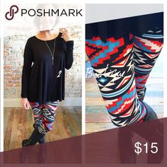 Aztec Print leggings Super soft Aztec print leggings. These are One size and fit up to a size 12 comfortably. Ruched sleeve tunic or black tie knot tunics are also available for sale in my closet. 😃 I am modeling actually leggings in above photos. 🖐PRICE FIRM UNLESS BUNDLED. 2 a T Boutique  Pants Leggings