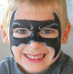 A more detailed Batman mask face painting. I might have to upgrade to this...