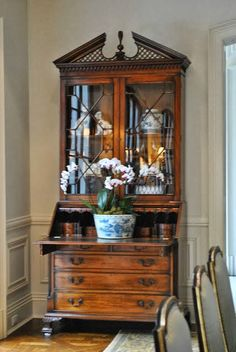 How Sublime!  An Exquisite Antique Secretaire Enhanced by White Orchids in a Large Blue & White Jardiniere - The Enchanted Home