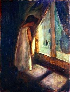 """Girl by the Window"", Edvard Munch So much emotion; so much loud silence ... just love it!"