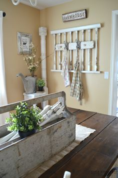 For the home - modern farmhouse/rustic style decor. Repurposed Items, Repurposed Furniture, Home Decor Furniture, Table Furniture, Furniture Design, Rack Vintage, Vintage Decor, Vintage Diy, Vintage Market