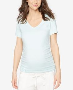 A Pea In The Pod Maternity V-Neck Ruched Tee - Tropical Mist XS