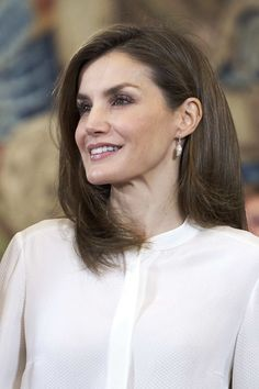 Queen Letizia of Spain attends an audience at Zarzuela Palace on March 28, 2017 in Madrid, Spain.