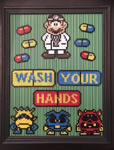 Dr. Mario Wash Your Hands 8 x 10 Framed Mini Perler Beads- Perfect for Kids' Room, Bathroom or Classroom Decorations