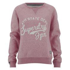 Superdry Women's Chain Stitch Crew Sweatshirt - Rose Twist ($65) ❤ liked on Polyvore featuring tops, hoodies, sweatshirts, red, v-neck tops, red top, crew-neck sweatshirts, american sweatshirt and red crew neck sweatshirt