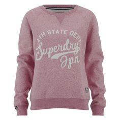 Superdry Women's Chain Stitch Crew Sweatshirt - Rose Twist (91 AUD) ❤ liked on Polyvore featuring tops, hoodies, sweatshirts, red, print sweatshirt, long sleeve pullover, red sweatshirt, crew neck sweatshirts and purple crewneck sweatshirt